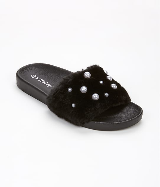 P.J. Salvage: Faux Fur & Pearl Sliders