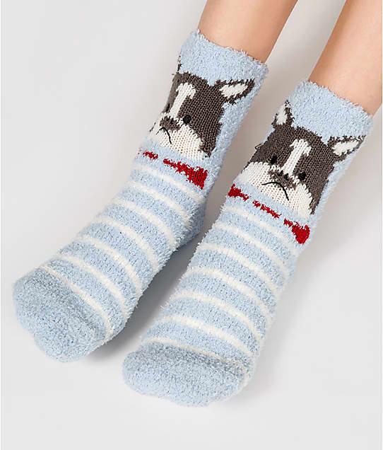 P.J. Salvage French Bull Dog Socks in Light Blue RKFX2-D