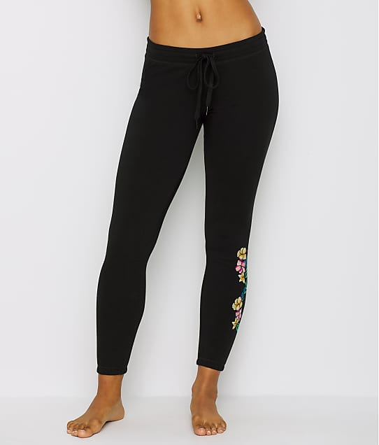 P.J. Salvage: Floral Embroidered Knit Jogger Pants