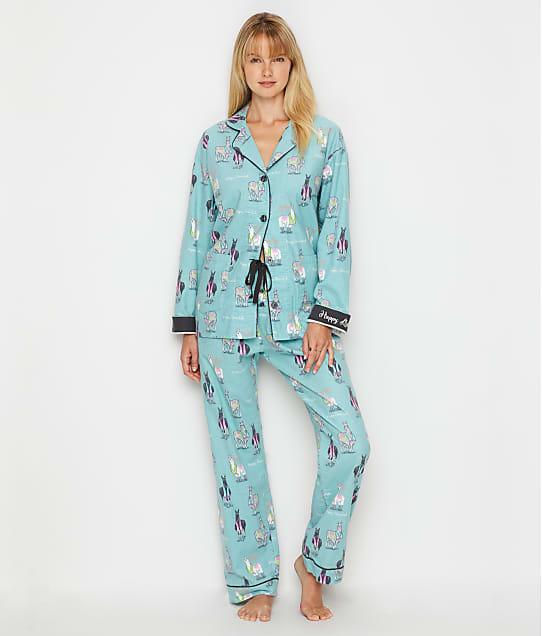 P.J. Salvage Happy Llamakah Flannel Pajama Set in Aqua RPLLPJ