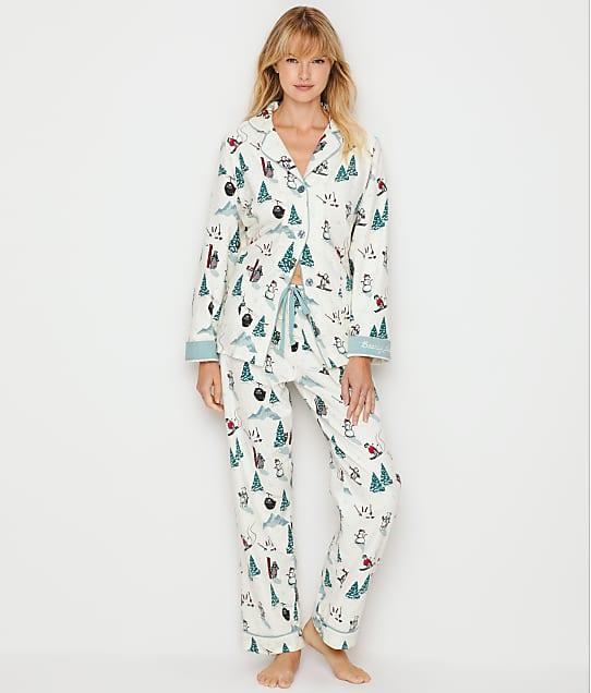 P.J. Salvage Bearly Awake Flannel Pajama Set in Antique White RPSKPJ
