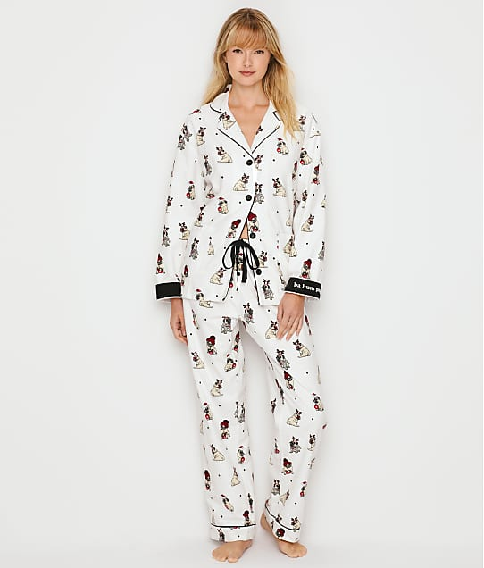 P.J. Salvage Ba Hum Pug Flannel Pajama Set in Ivory RQFLPJ-PUG