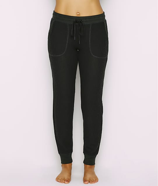 P.J. Salvage Peachy Waffle Knit Jogger Pants in Slate(Front Views) RQPEP1