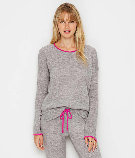 P.J. Salvage Sweater Knit Cozy Pajama Top in Heather Grey RQSWLS1