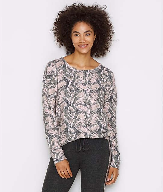 P.J. Salvage Sweater Knit Snakeskin Lounge Top in Blush RRAILS