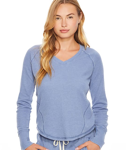 P.J. Salvage Fade Away Knit Lounge Top in Denim(Front Views) RZFALS2