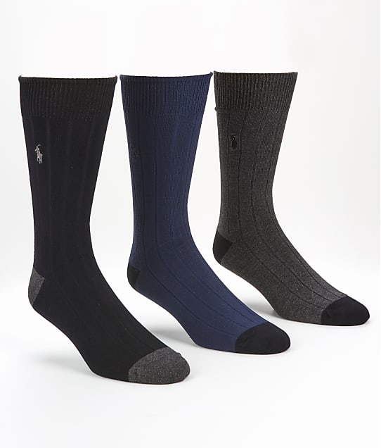 Polo Ralph Lauren: Ribbed Crew Socks 3-Pack