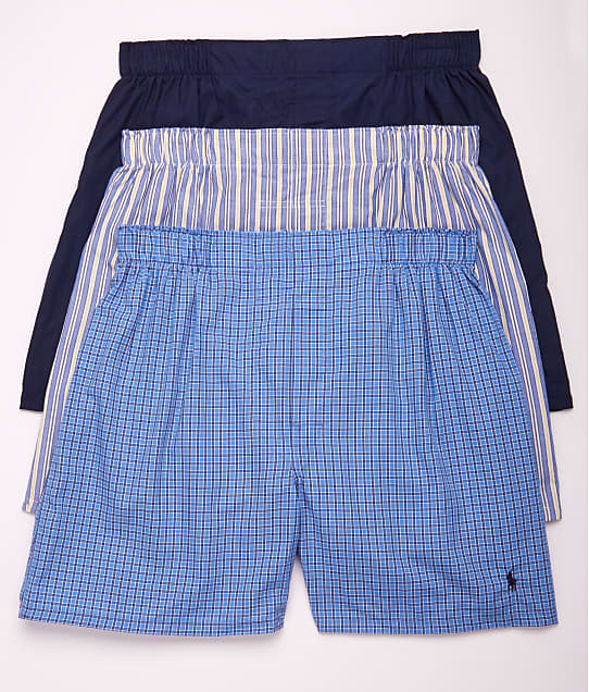 Polo Ralph Lauren Classic Fit Woven Cotton Boxers 3-Pack in Navy / Plaid /Stripe RCWBP3