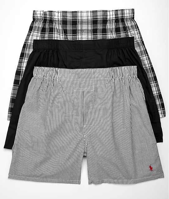 Polo Ralph Lauren Classic Fit Woven Cotton Boxers 3-Pack in Black Combo(Front Views) RCWBP3