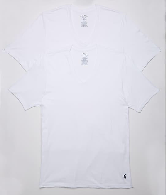 Polo Ralph Lauren Classic Fit Big & Tall V-Neck T-Shirt 2-Pack in White RXVNP2