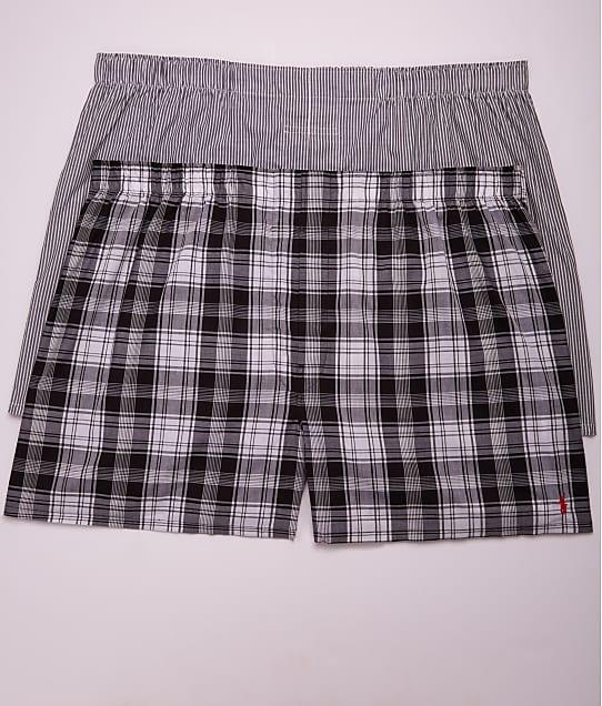 Polo Ralph Lauren Classic Big & Tall Cotton Woven Boxers 2-Pack in Black Plaid / Stripe RXWBP2