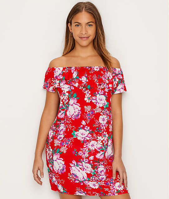 Pour Moi Santa Monica Bardot Cover-Up in Red 13925