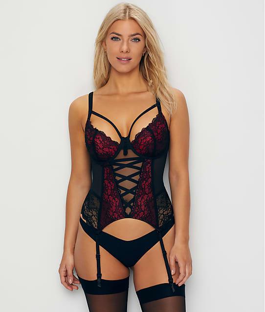 Pour Moi Imagine Bustier Garter  in Black / Red 16505