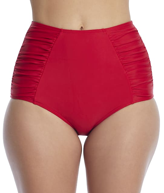 Pour Moi Horizon High-Waist Bikini Bottom in Red 18405