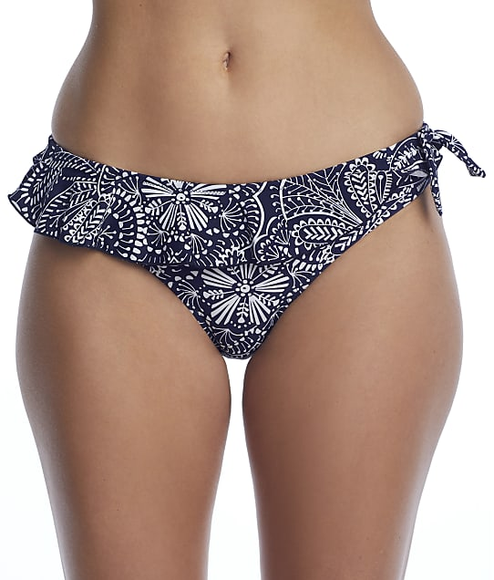 Pour Moi Hot Spots Frill Navy Scandi Bikini Bottom in Navy Scandi(Front Views) 3903-NVSC