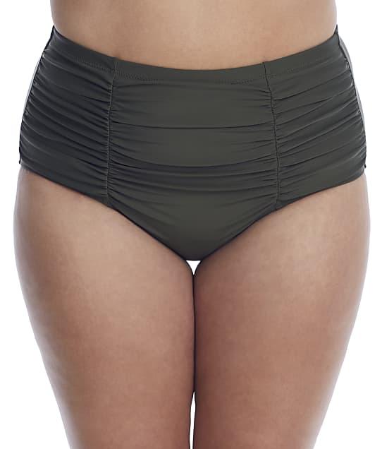 Raisins Curve Plus Size Alicante Costa High-Waist Bikini Bottom in Sage(Front Views) E840061
