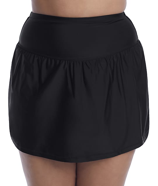 Raisins Curve Plus Size Alicante Solids Bravo Skirted Bikini Bottom in Black(Full Sets) E840070