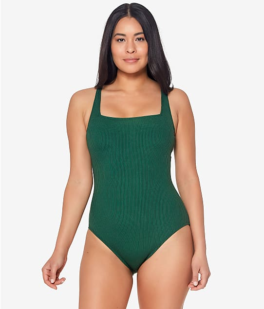 Bleu Rod Beattie Walk The Line Eco Square Neck Underwire One-Piece in Palm(Full Sets) RBWL22971