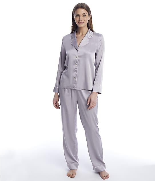 Reveal Washed Satin Long Pajama Set in Platinum REES33