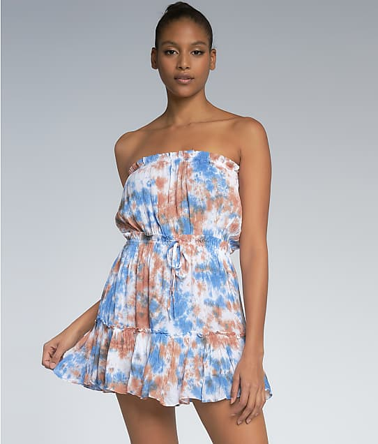 Elan Tie Dye Strapless Cover-Up Dress in Blue / Brown RGT5597