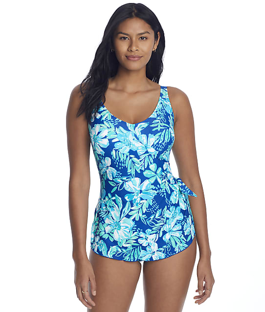 Roxanne Tropical Melody Sarong One-Piece C-DD Cups in Twilight Blue(Full Sets) E11410