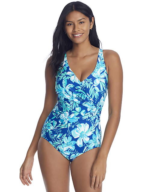 Roxanne Tropical Melody Sash Underwire One-Piece D-DD Cups in Twilight Blue(Front Views) E11425