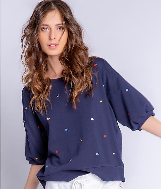 P.J. Salvage American Dreams Knit Lounge Top in Navy RYADT