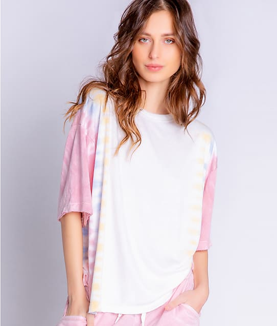 P.J. Salvage Sunset Hues Tie Dye French Terry T-Shirt in Ivory RYSHT