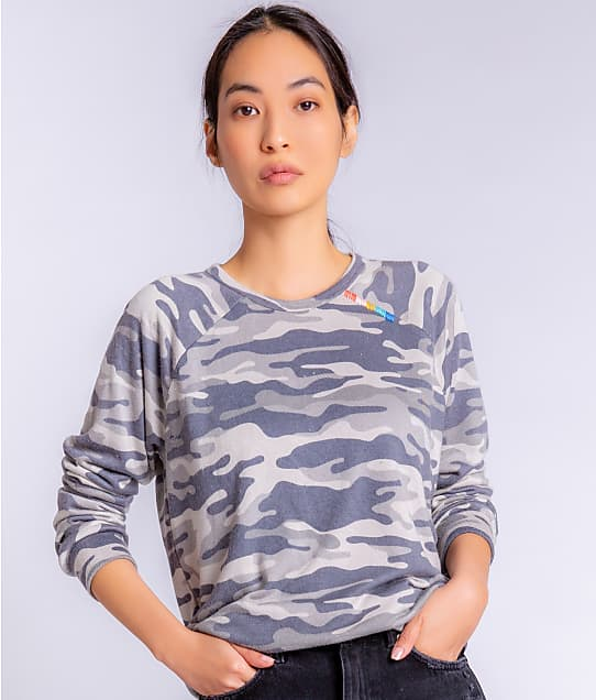 P.J. Salvage Camo Cool Knit Pullover Lounge Top in Moon Grey RZCCLS