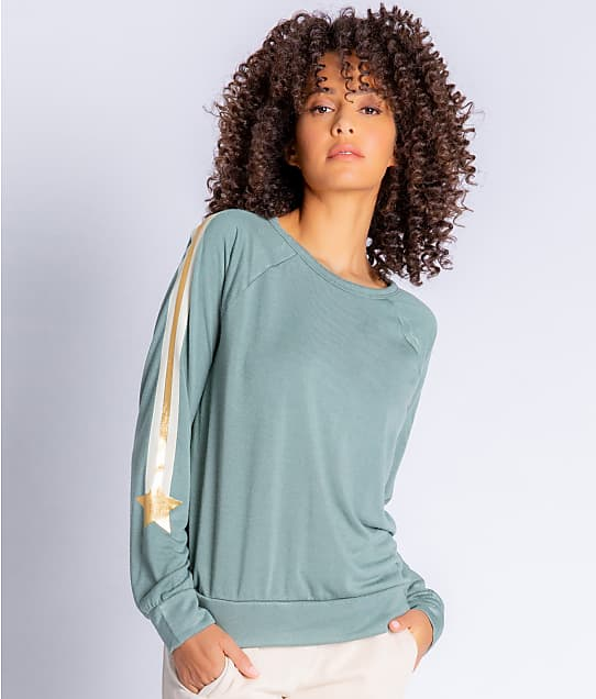P.J. Salvage Gold Star Terry Knit Lounge Top in Sage RZGSLS