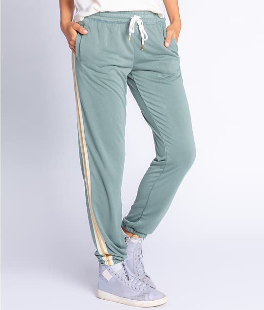 P.J. Salvage Gold Star Banded Terry Knit Joggers in Sage RZGSP