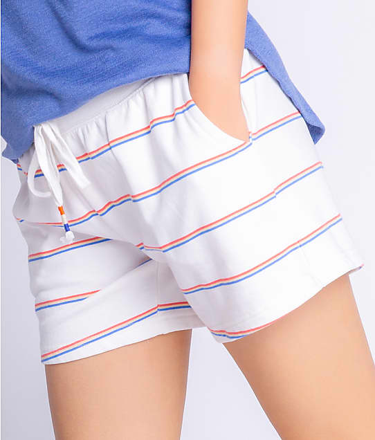 P.J. Salvage Kindness Rules Cotton Knit Shorts in Ivory RZKRS