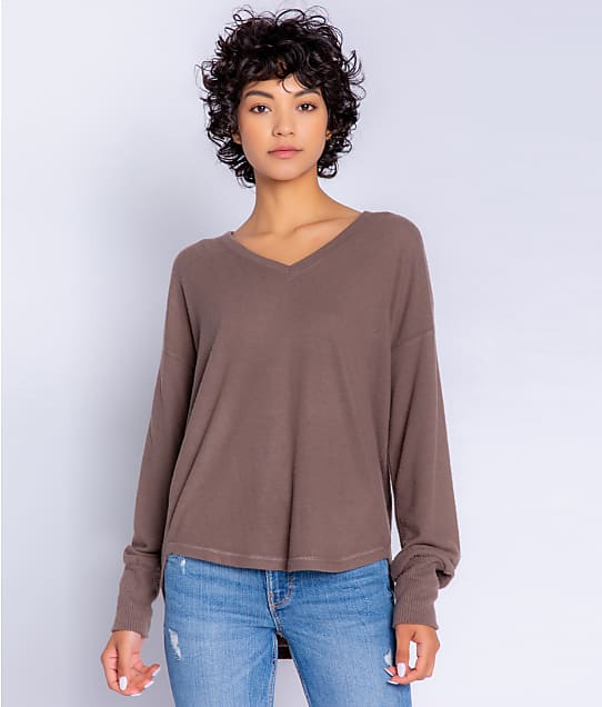 P.J. Salvage Peachy In Color Knit Lounge Top in Cocoa RZPCLS