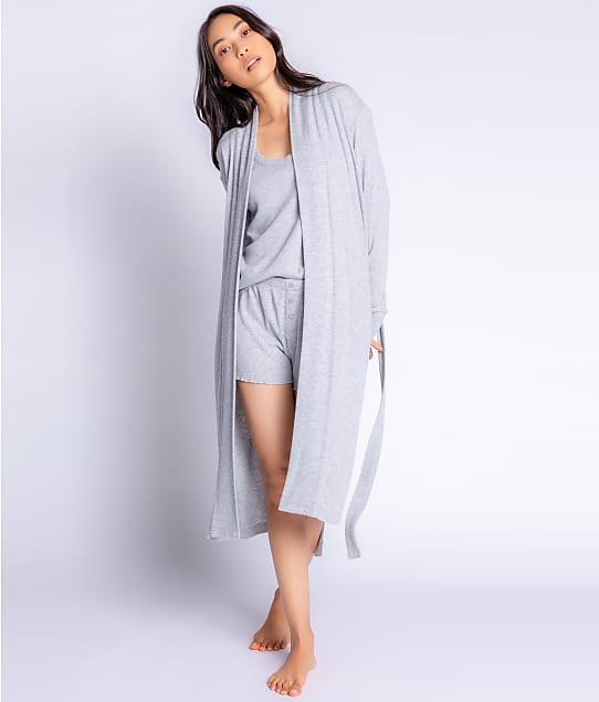 P.J. Salvage Textured Essentials Ribbed Knit Robe in Heather Grey RZTER