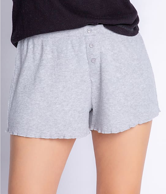 P.J. Salvage Textured Essentials Ribbed Knit Shorts in Heather Grey(Front Views) RZTES