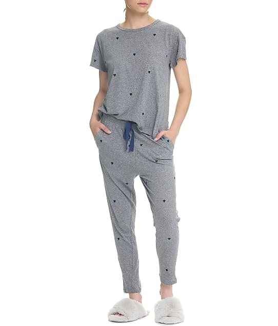 Papinelle Navy Hearts Cotton Knit Pajama Set in Grey Marl S21353-1137