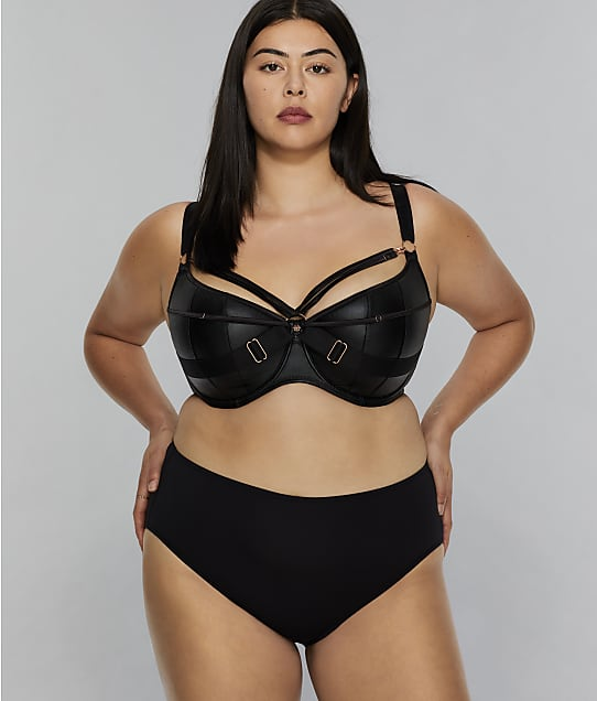 Scantilly by Curvy Kate Harnessed Padded Underwire Demi Bra in Black(Front Views) ST008105