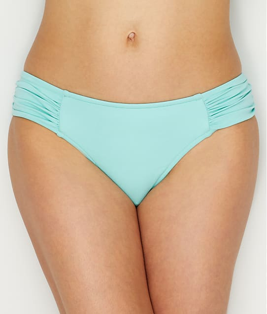 Seafolly: Solid Retro Side Shirred Bikini Bottom