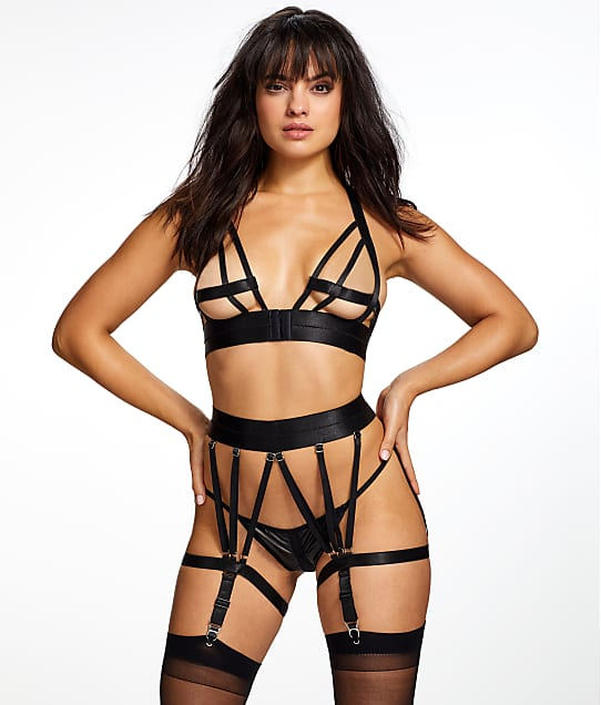 Shirley of Hollywood: Strappy Bra & Crotchless Garter Set