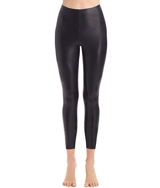 Commando Perfect Control Faux Leather 7/8 Leggings in Black(Front Views) SLG36