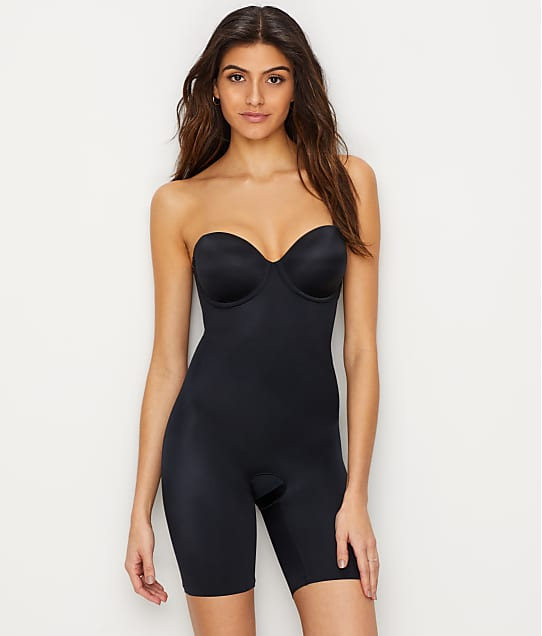 SPANX Suit Your Fancy Medium Control Strapless Bodysuit in Very Black(Front Views) 10156R