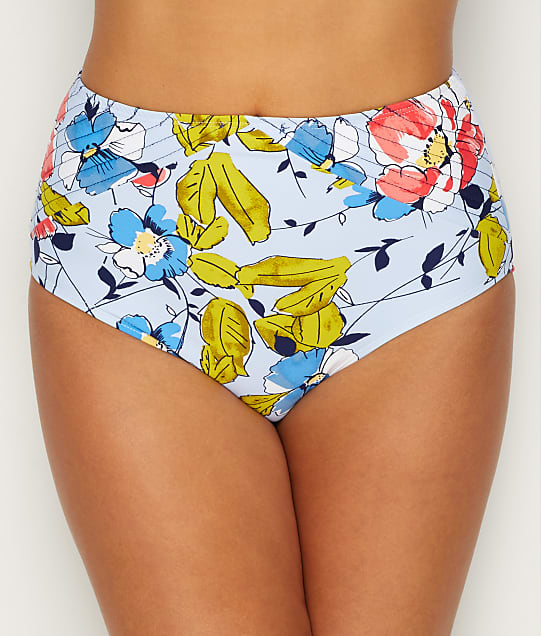 Studio Anne Cole: Brigitte Floral Quilted High-Waist Bikini Bottom