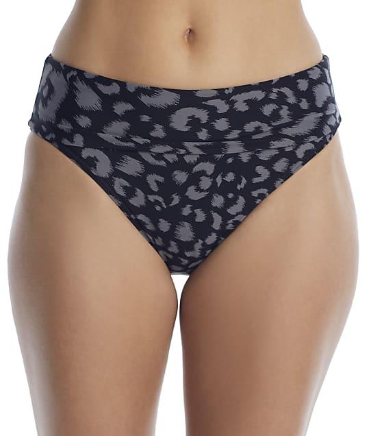 Sunsets Fearless Feline Fold-Over High-Waist Bikini Bottom in Feline(Front Views) 33B-FEAFE