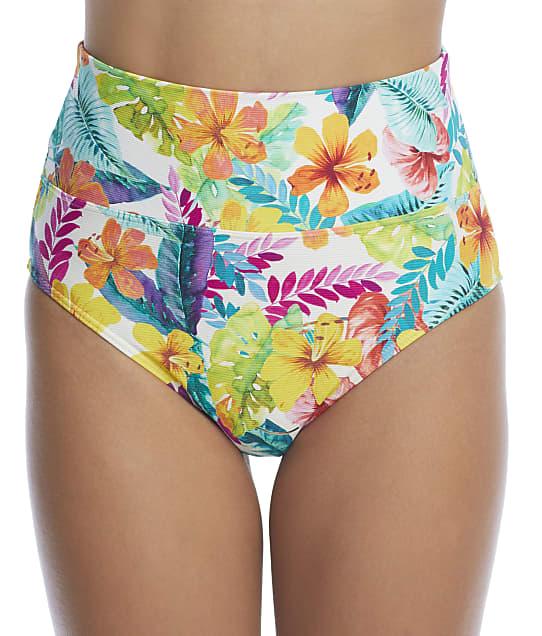 Sunsets Tropical Adventure Fold-Over High-Waist Bikini Bottom in Tropical Adventure(Front Views) 33B-TROAD