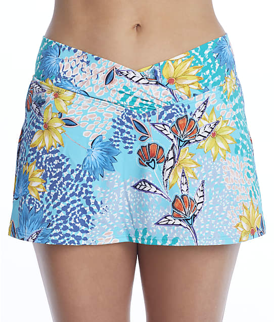 Sunsets Aqua Reef Summer Lovin' Skirted Bikini Bottom in Aqua Reef(Front Views) 41B-AQURE