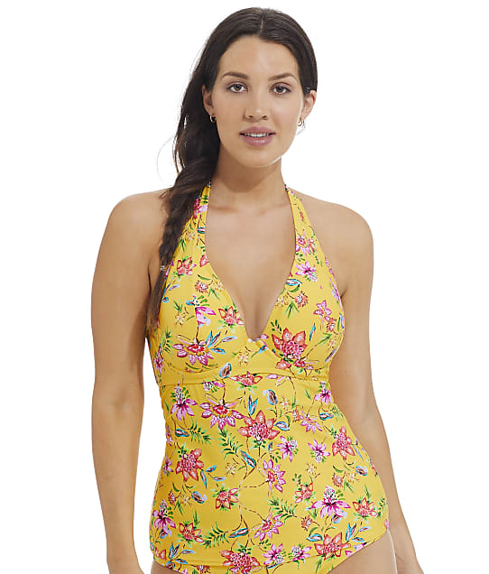 Sunsets Golden Hour Muse Halter Underwire Tankini Top in Golden Hour(Front Views) 73D-GOLHO