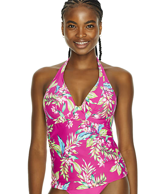 Sunsets Orchid Oasis Muse Halter Underwire Tankini Top in Orchid Oasis(Front Views) 73D-ORCOA