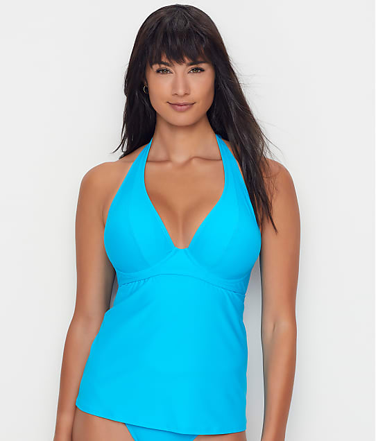 Sunsets: Poolside Blue Muse Halter Underwire Tankini Top