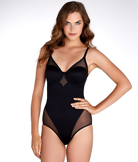 TC Fine Intimates Sheer Shaping Firm Control Bodysuit in Black 4221
