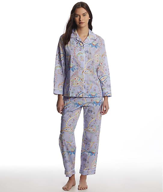The Cat's Pajamas: Lavender Paisley Luxe Pima Woven Pajama Set